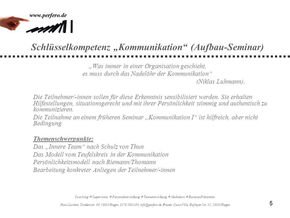"""Schlüsselkompetenz """"Kommunikation (Aufbau-Seminar)"""