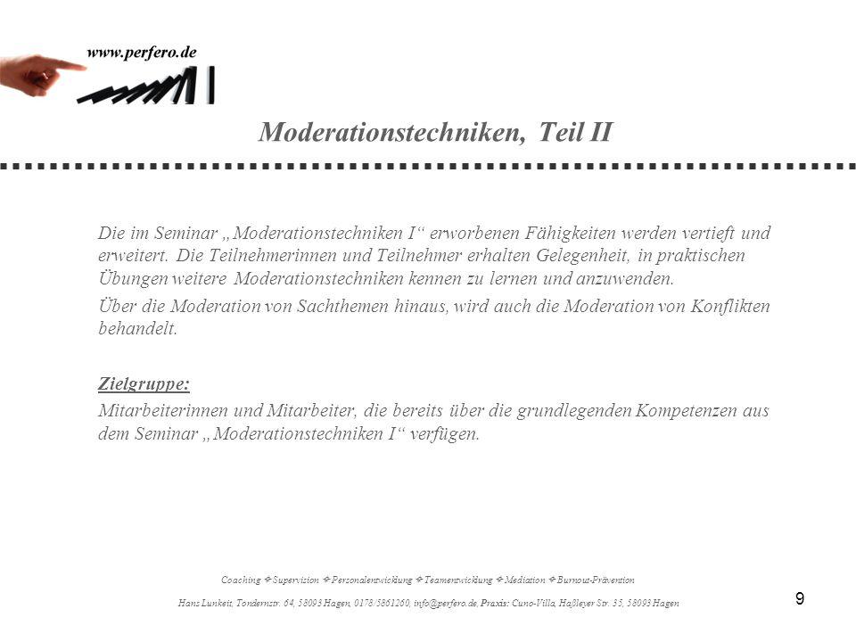 Moderationstechniken, Teil II