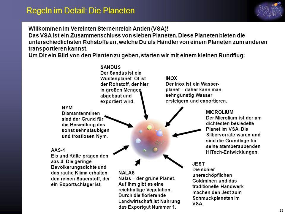 Regeln im Detail: Die Planeten