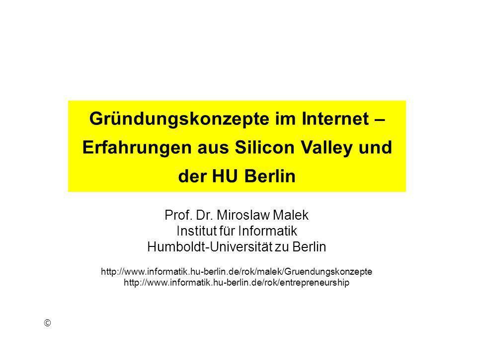 Gründungskonzepte im Internet – Erfahrungen aus Silicon Valley und der HU Berlin