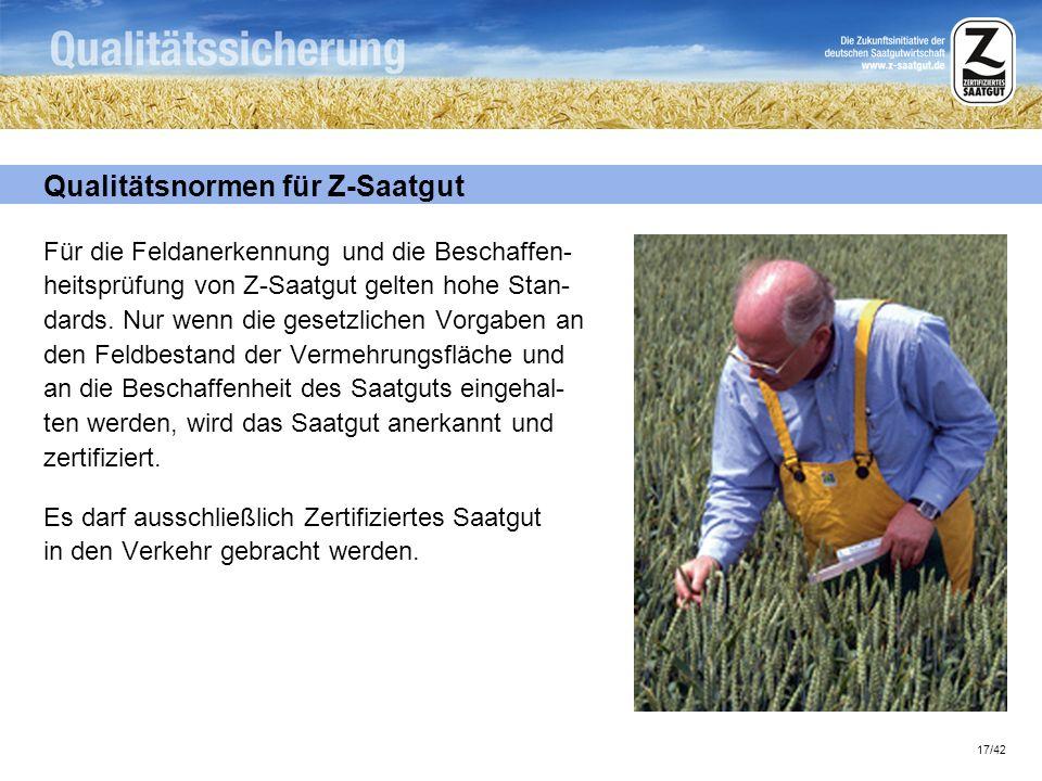 Qualitätsnormen für Z-Saatgut