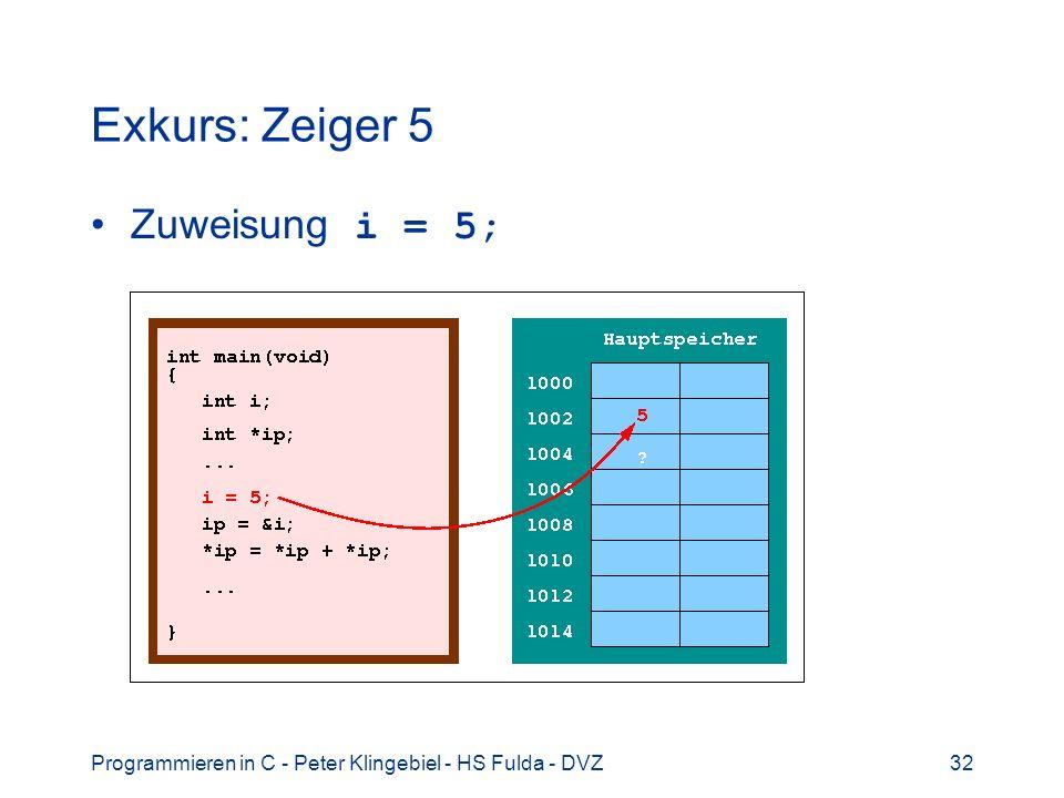 Exkurs: Zeiger 5 Zuweisung i = 5;
