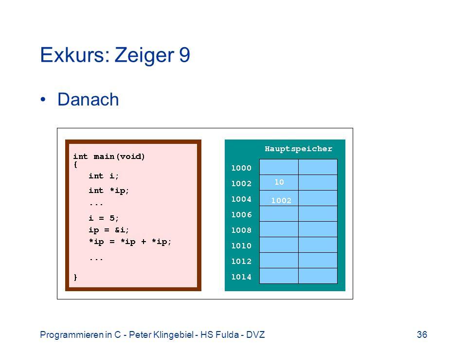 Exkurs: Zeiger 9 Danach Programmieren in C - Peter Klingebiel - HS Fulda - DVZ