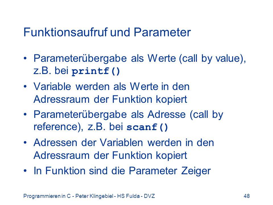 Funktionsaufruf und Parameter
