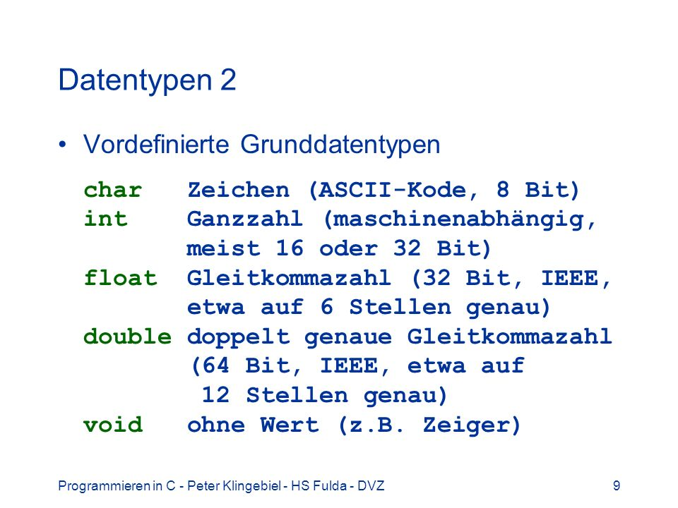 Datentypen 2