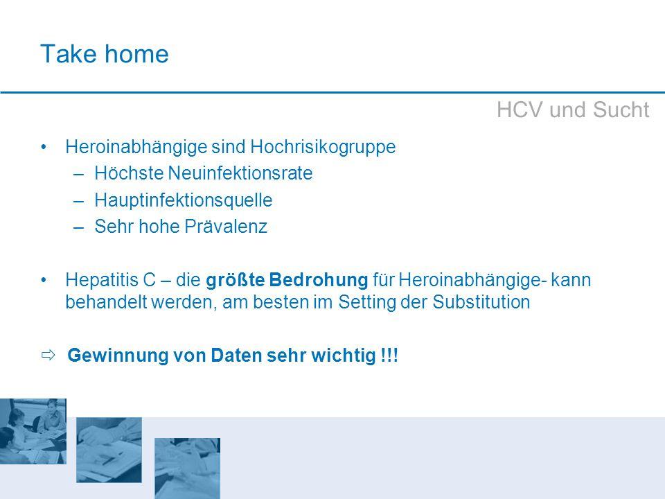 Take home HCV und Sucht Heroinabhängige sind Hochrisikogruppe