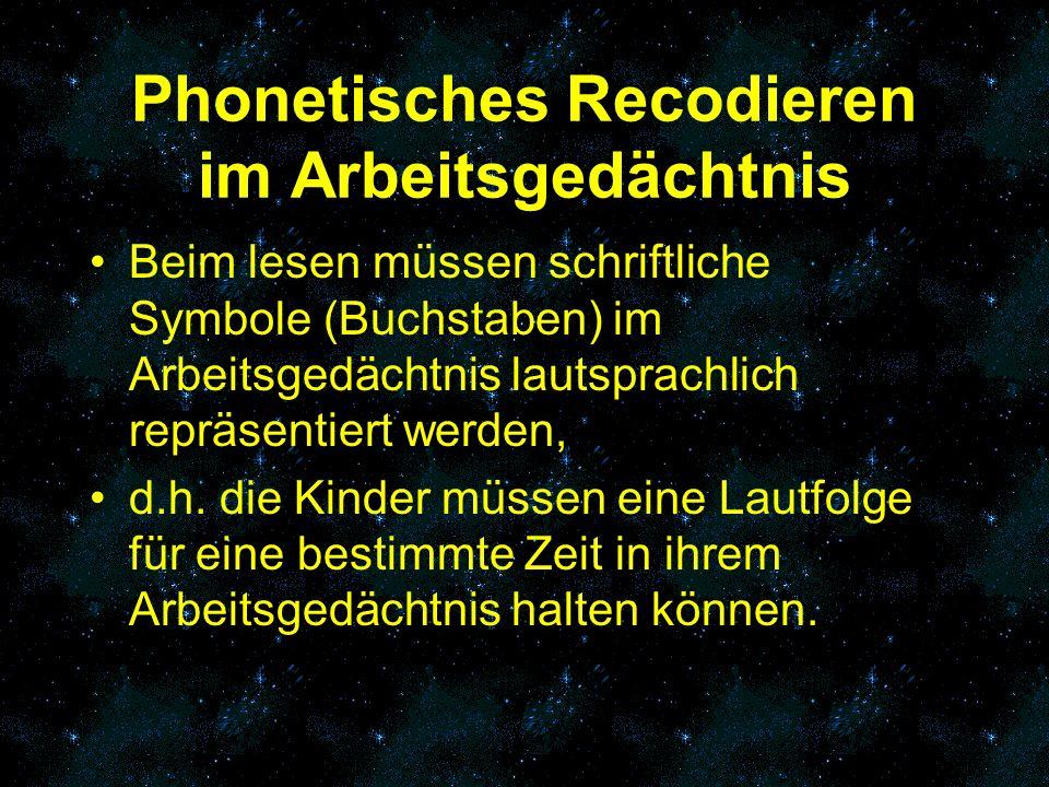 Phonetisches Recodieren im Arbeitsgedächtnis