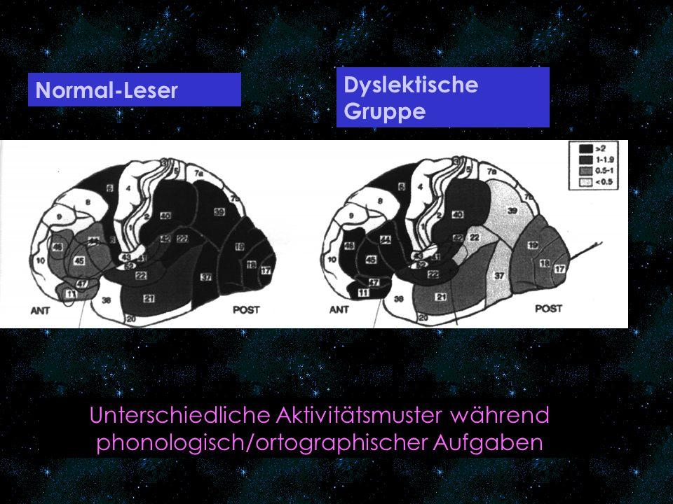 Dyslektische Gruppe Normal-Leser.