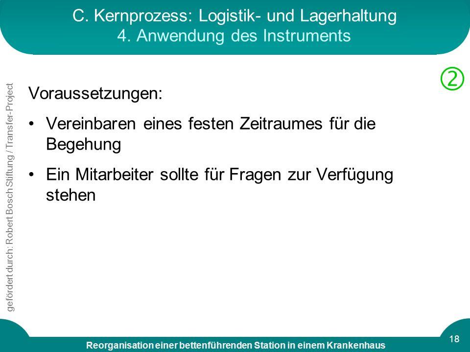 C. Kernprozess: Logistik- und Lagerhaltung 4. Anwendung des Instruments