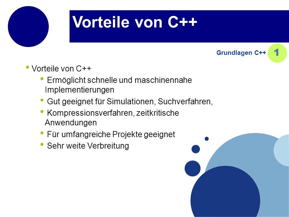 Vorteile von C++ 1 Vorteile von C++