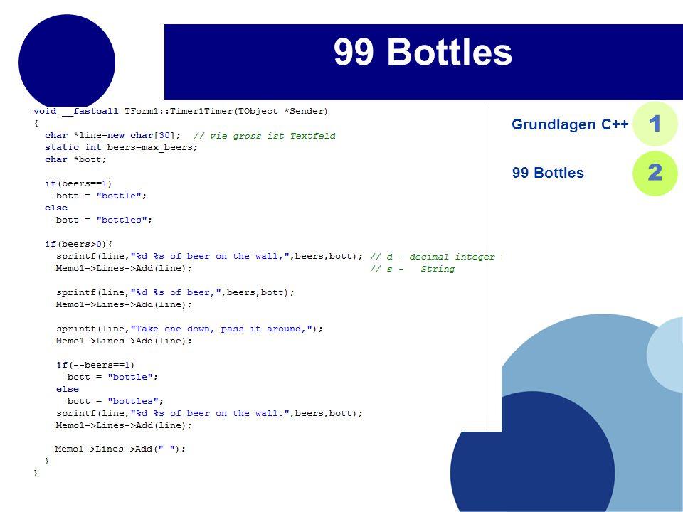 99 Bottles Grundlagen C++ 1 99 Bottles 2 22