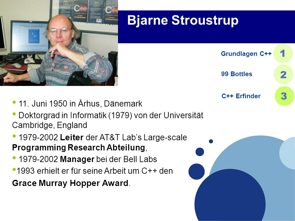 Bjarne Stroustrup 1 2 3 Grace Murray Hopper Award.