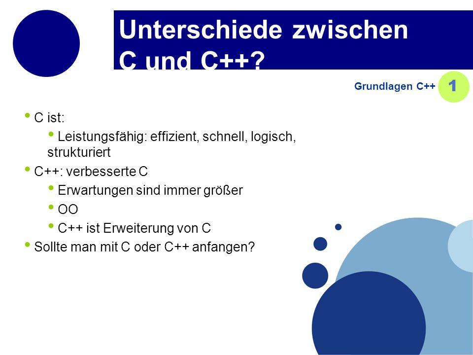 Unterschiede zwischen C und C++