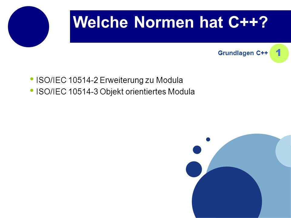Welche Normen hat C++ 1 ISO/IEC 10514-2 Erweiterung zu Modula
