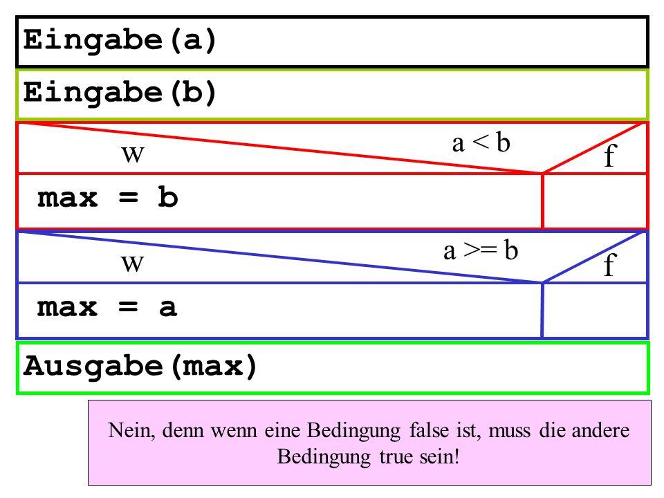 Eingabe(a) Eingabe(b) w f max = b w f max = a Ausgabe(max) a < b