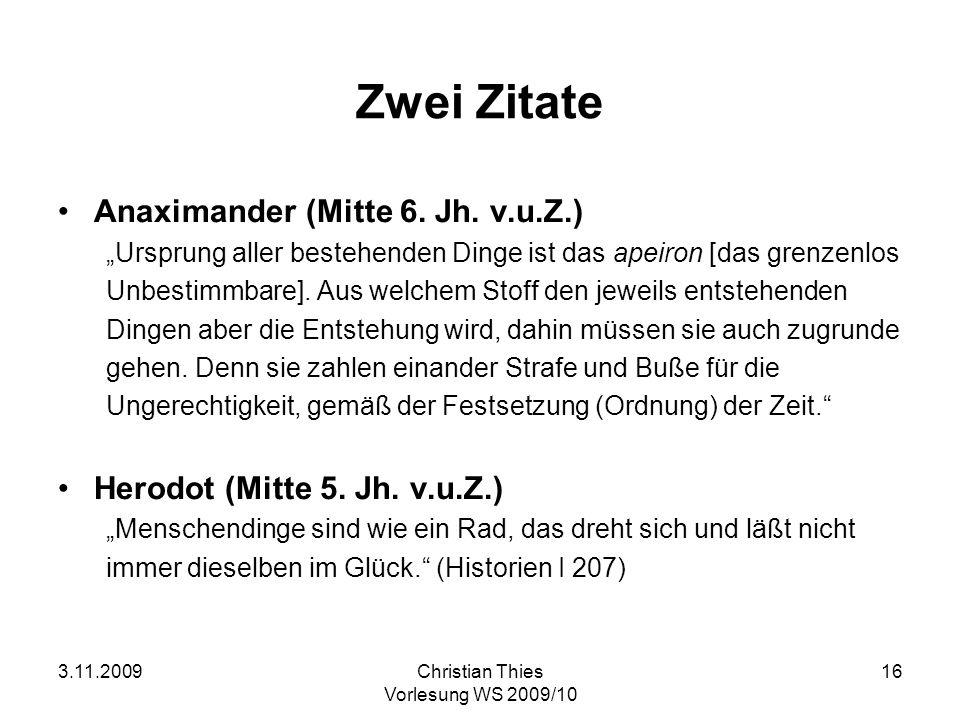 Zwei Zitate Anaximander (Mitte 6. Jh. v.u.Z.)