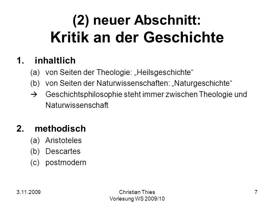 (2) neuer Abschnitt: Kritik an der Geschichte