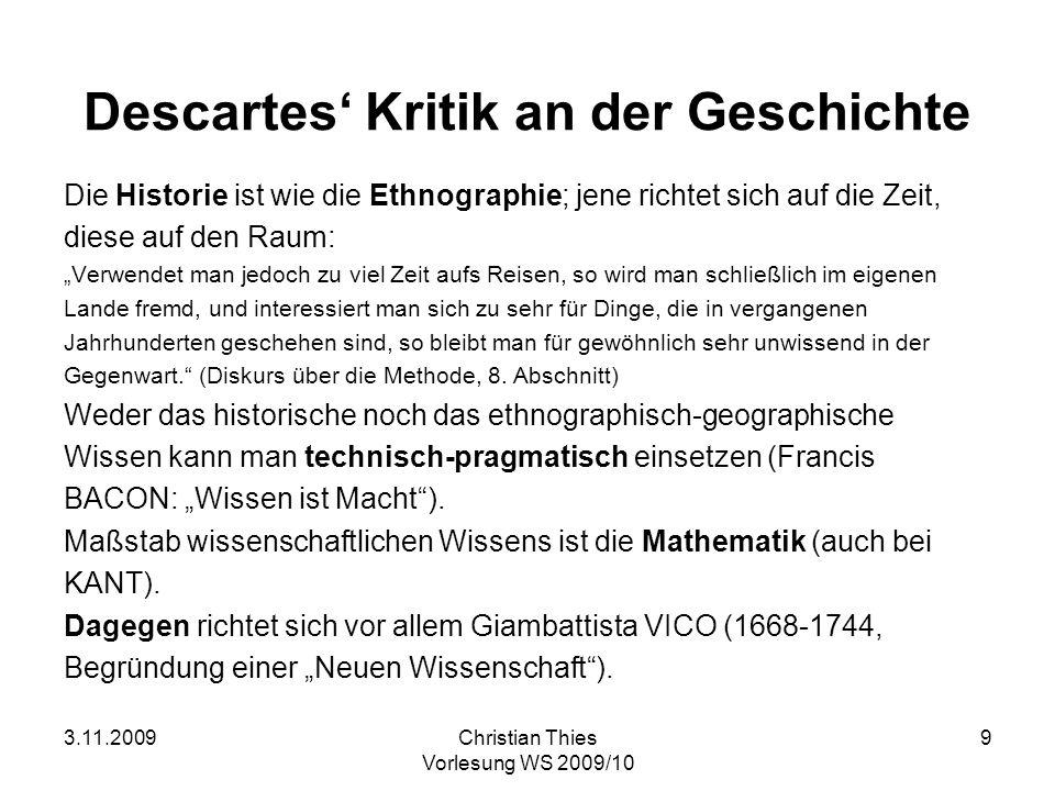 Descartes' Kritik an der Geschichte