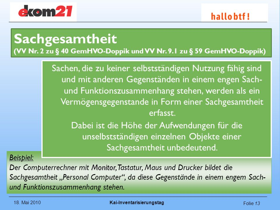 Sachgesamtheit (VV Nr. 2 zu § 40 GemHVO-Doppik und VV Nr. 9