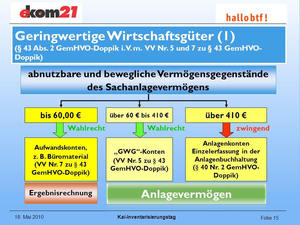 Geringwertige Wirtschaftsgüter (1) (§ 43 Abs. 2 GemHVO-Doppik i. V. m