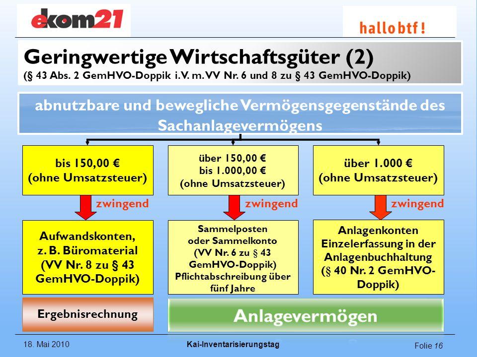 Geringwertige Wirtschaftsgüter (2) (§ 43 Abs. 2 GemHVO-Doppik i. V. m