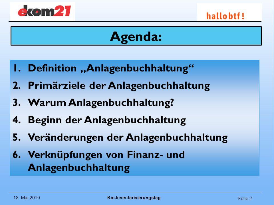 """Agenda: Definition """"Anlagenbuchhaltung"""