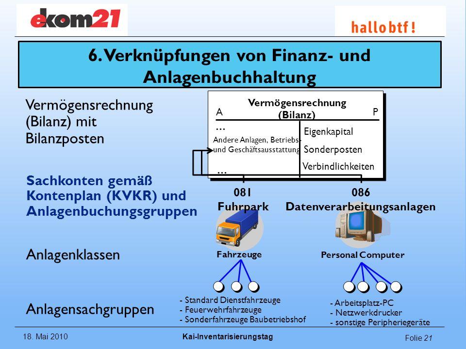 6. Verknüpfungen von Finanz- und Anlagenbuchhaltung