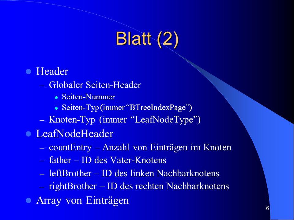 Blatt (2) Header LeafNodeHeader Array von Einträgen