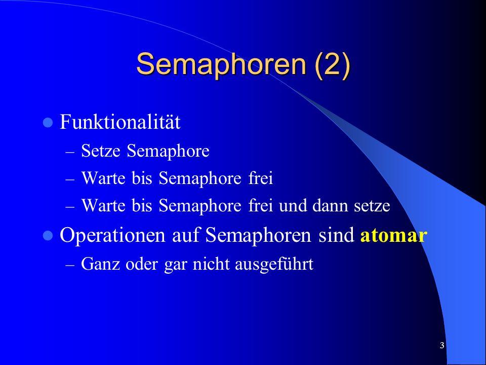 Semaphoren (2) Funktionalität Operationen auf Semaphoren sind atomar