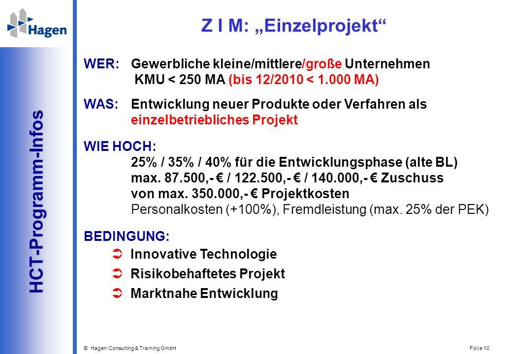 """Z I M: """"Einzelprojekt HCT-Programm-Infos"""