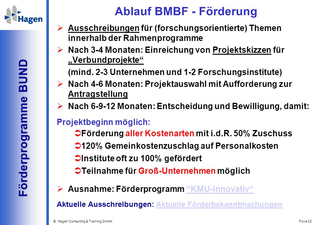 Ablauf BMBF - Förderung