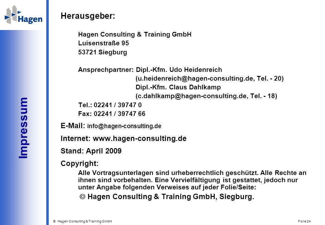Impressum Herausgeber: E-Mail: info@hagen-consulting.de