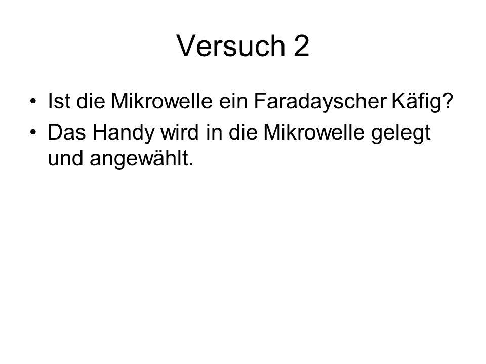 Versuch 2 Ist die Mikrowelle ein Faradayscher Käfig