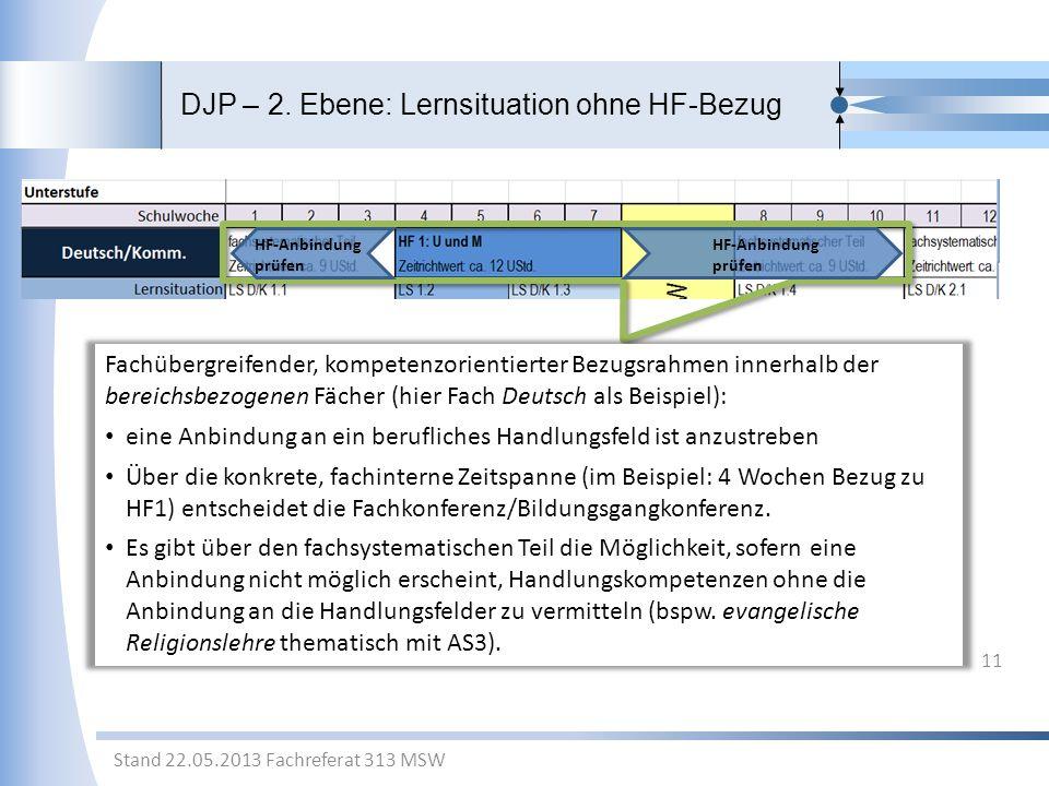 DJP – 2. Ebene: Lernsituation ohne HF-Bezug