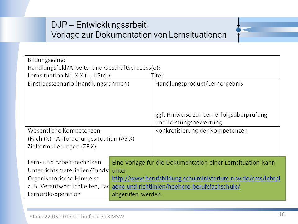 DJP – Entwicklungsarbeit: Vorlage zur Dokumentation von Lernsituationen