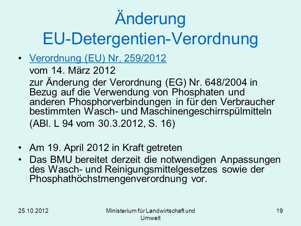 Änderung EU-Detergentien-Verordnung
