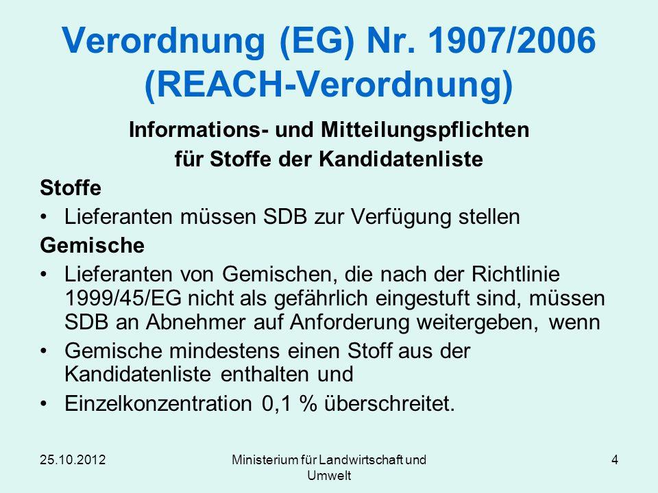 Verordnung (EG) Nr. 1907/2006 (REACH-Verordnung)