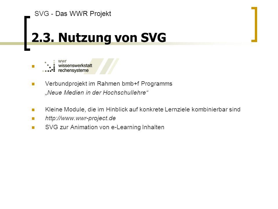 2.3. Nutzung von SVG SVG - Das WWR Projekt