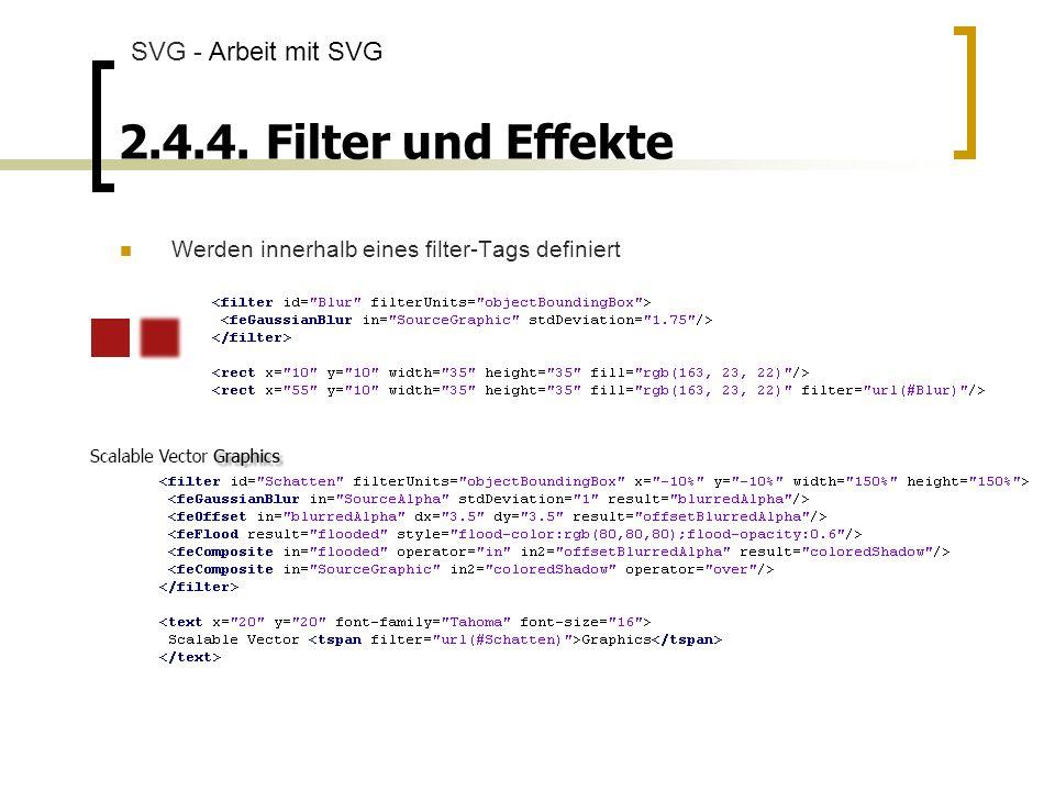 2.4.4. Filter und Effekte SVG - Arbeit mit SVG