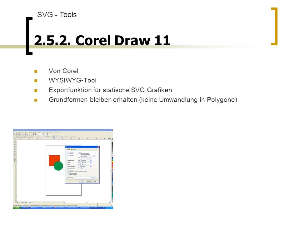 Corel Draw 11 SVG - Tools Von Corel WYSIWYG-Tool