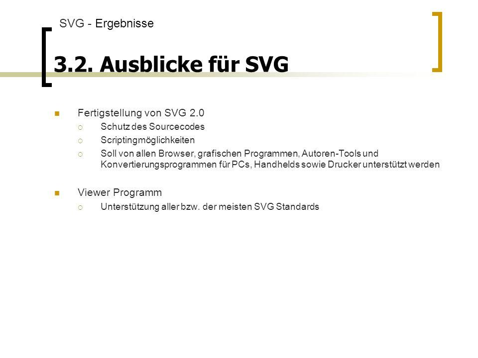 3.2. Ausblicke für SVG SVG - Ergebnisse Fertigstellung von SVG 2.0
