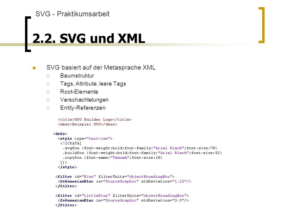 2.2. SVG und XML SVG - Praktikumsarbeit