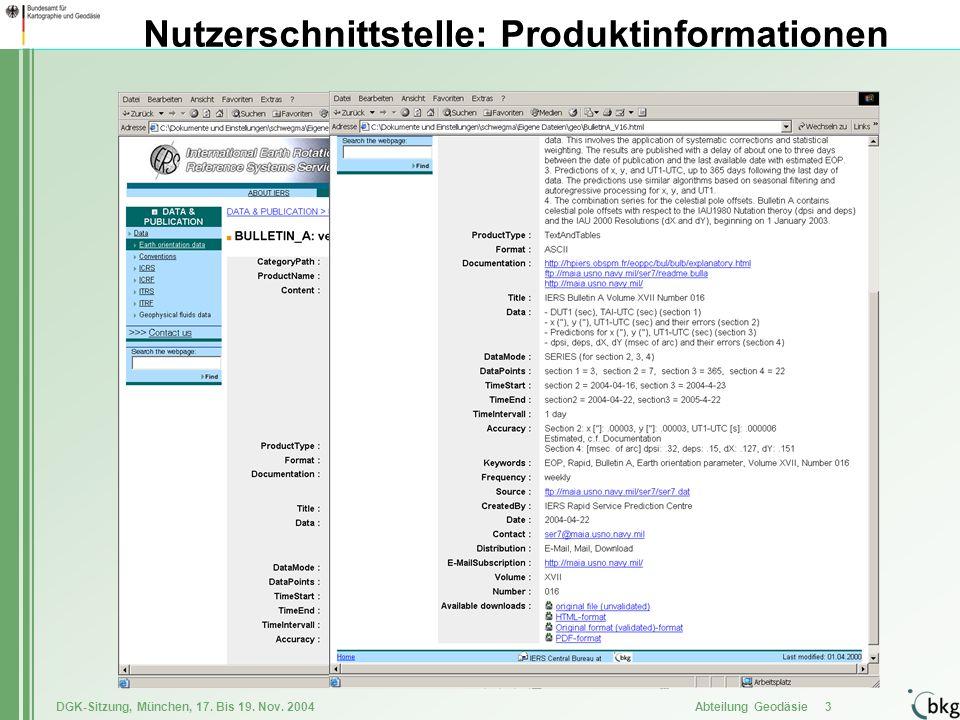 Nutzerschnittstelle: Produktinformationen