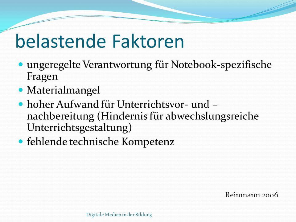 belastende Faktorenungeregelte Verantwortung für Notebook-spezifische Fragen. Materialmangel.