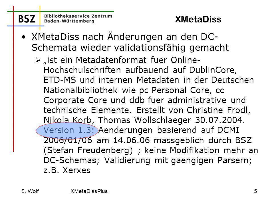 XMetaDiss XMetaDiss nach Änderungen an den DC-Schemata wieder validationsfähig gemacht.