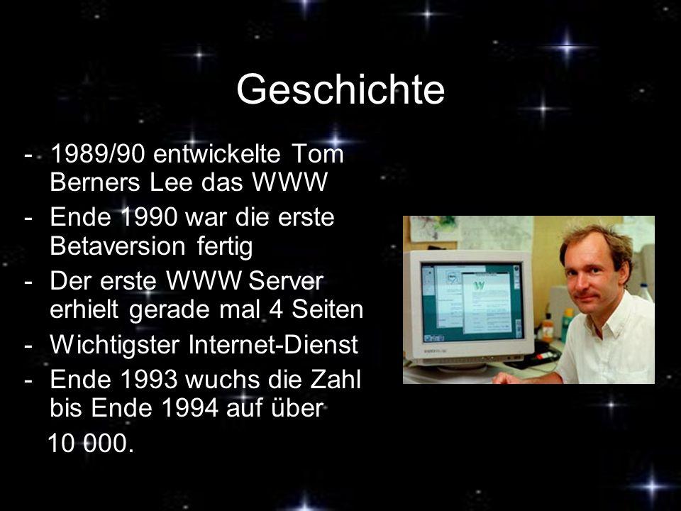Geschichte 1989/90 entwickelte Tom Berners Lee das WWW