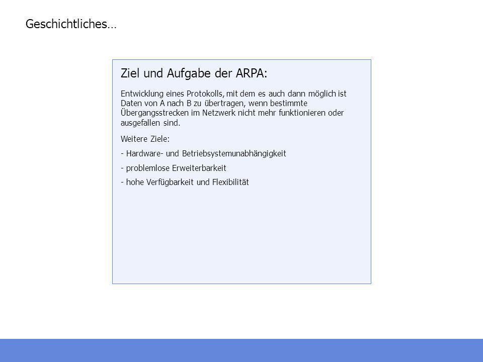 Ziel und Aufgabe der ARPA: