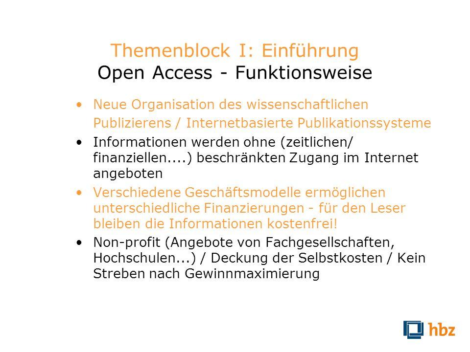 Themenblock I: Einführung Open Access - Funktionsweise
