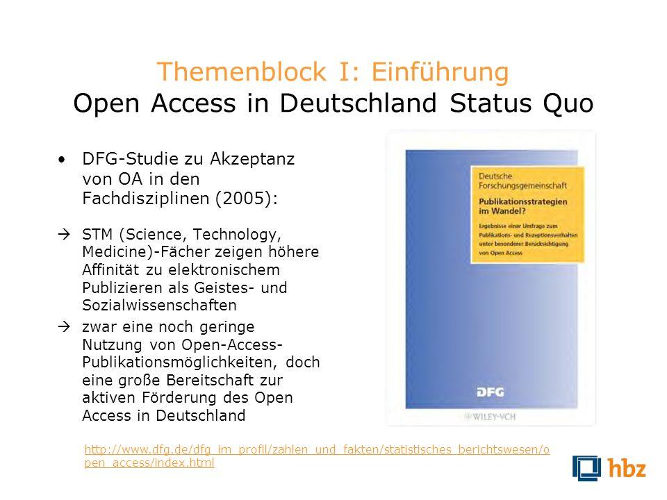 Themenblock I: Einführung Open Access in Deutschland Status Quo
