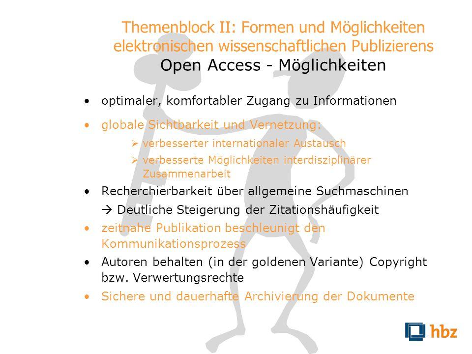 Themenblock II: Formen und Möglichkeiten elektronischen wissenschaftlichen Publizierens Open Access - Möglichkeiten